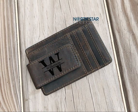 Mens Leather Wallet Personalized Wallet Money Clip wallet