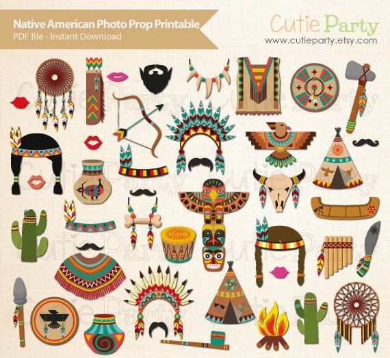 Native American Photo Booth Prop Native American by Cutieparty