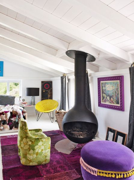 Escape to the Coolest Coastal Home in Spain // Fireplace and purple accents: Design Inspiration, Coastal Homes, Interior Design, Living Rooms, Color Palette, Fireplace, Coolest Coastal