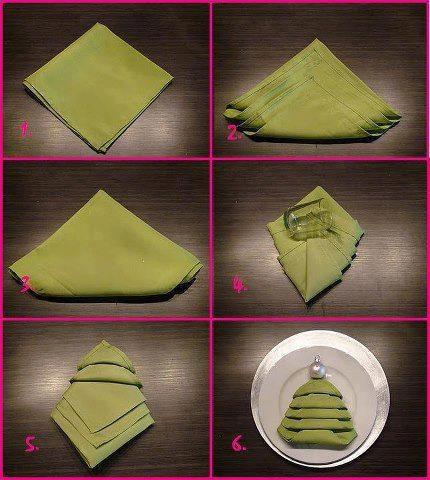 christmas tree shaped napkin folding   Party Napkin ...