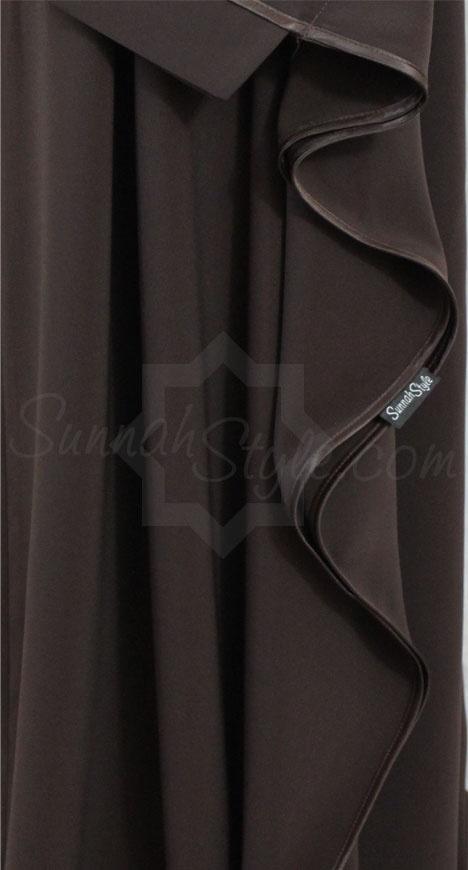 Satin Trimmed Full Butterfly Abaya (Espresso) by Sunnah Style #SunnahStyle #farasha #butterflyabaya #abayastyle #satintrim