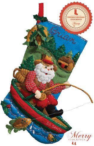 Fishing Santa bucilla stocking kit large
