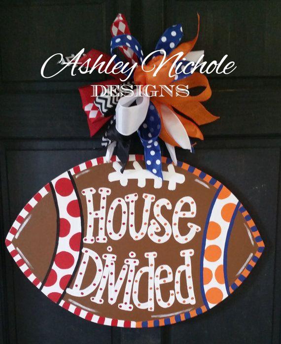 House Divided Football Door Hanger Door by DesignsAshleyNichole. Like the idea