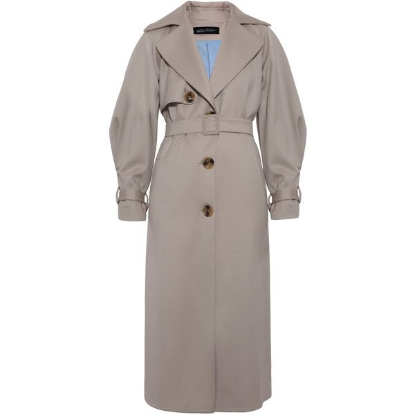 Wool Trench Coat | Moda Operandi (39,890 DOP) ❤ liked on Polyvore featuring outerwear, coats, wool trench coats, brown wool coat, brown trench coat, brown coat and wool coat