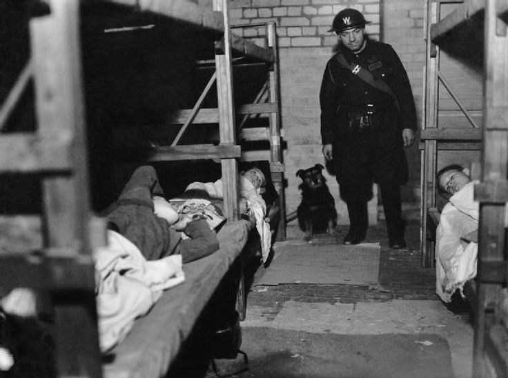 'Rip' the dog and ARP Warden Angelus visit an air raid shelter in Poplar, London, December during 1941.