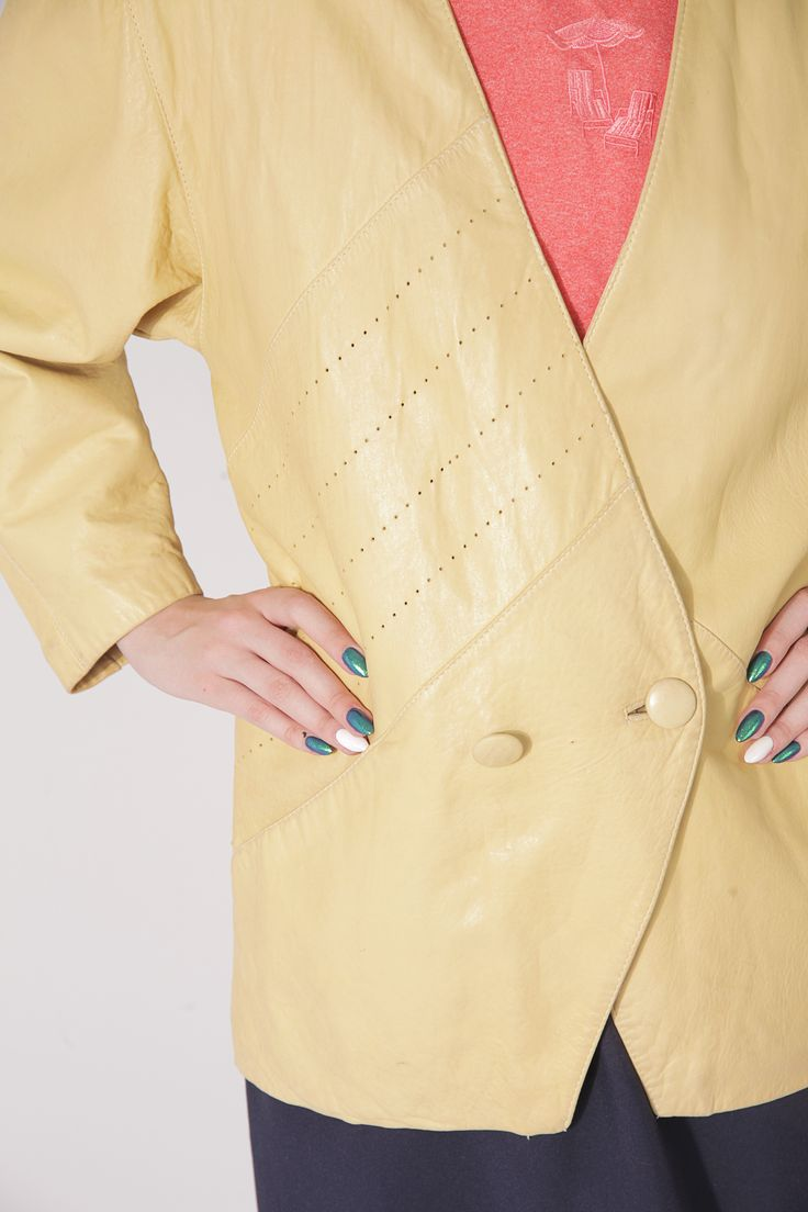80s yellow leather jacket with shoulder pads