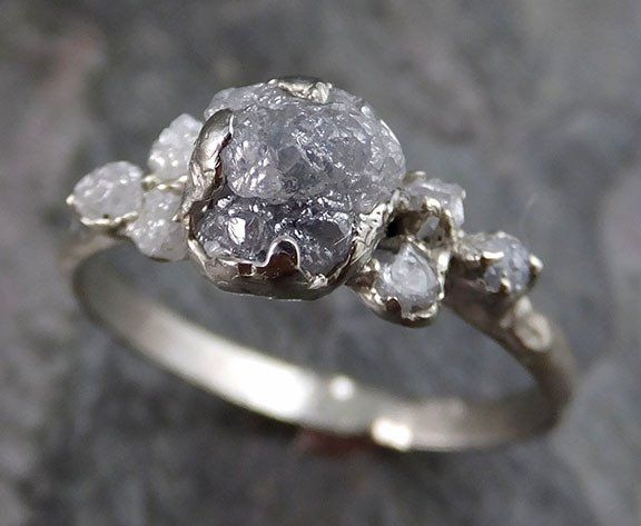 Raw Rough Diamond And Quotes: Raw Diamond White Gold Engagement Ring Rough Gold Wedding
