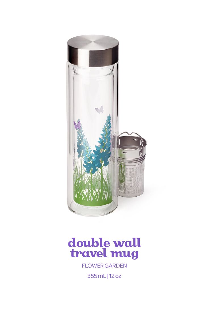 SPRING 2015 - This lilac-printed travel mug is made of double-wall glass, with a stainless steel lid.