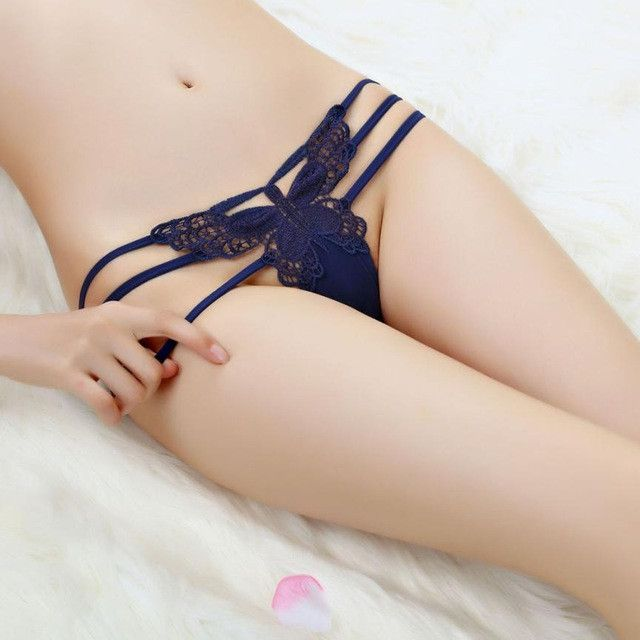 Women G-String Stylish Bandage Butterfly Embroidery Sexy Transparent Panties Women Calcinha Fio Dental #1227