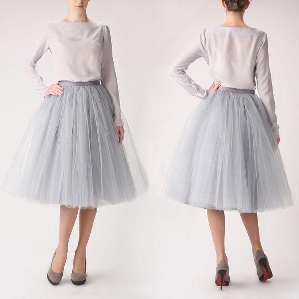 Petticoat & Unterrock - Tüllrock S031 long grau - ein Designerstück von Fanfaronada bei DaWanda