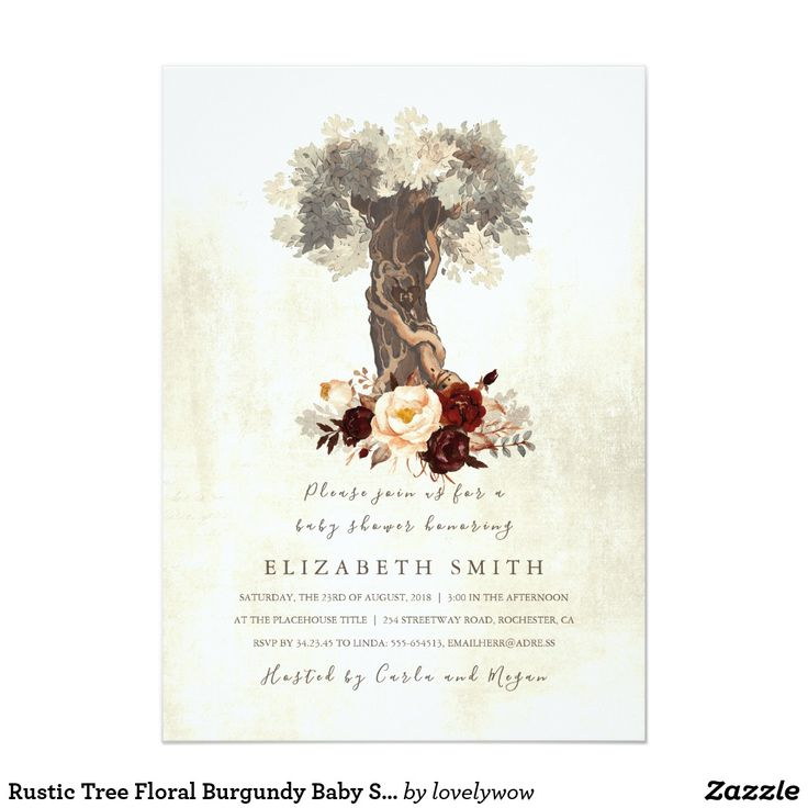 Rustic Tree Floral Burgundy Baby Shower