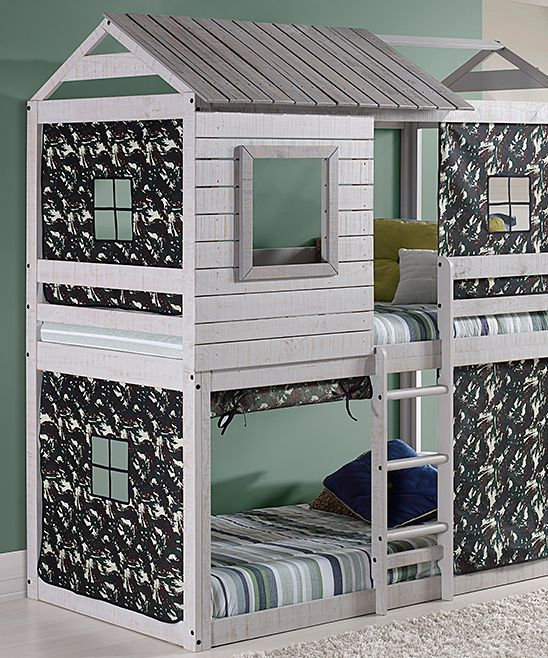 This innovative loft creates a scene right in your youngster's space for sound sleeping in cabin-inspired fashion. A durable wood canopy ensures night after night of cozy shut-eye, and the eye-catching tenting provides their own bit of privacy.Includes two headboards, two footboards, frame, ladder, side bars and tentingBedding and mattresses not includedWeight capacity: 180 lbs.43'' W x 77'' DHeadboard: 90'' HFootboard: 90'' HWoodAssembly requiredImported