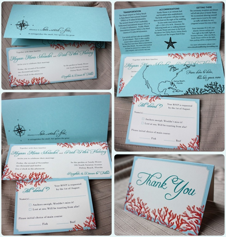 Tiffany Blue Teal Red Beach Coral Horizontal Wedding Invitations With Pocket Folders