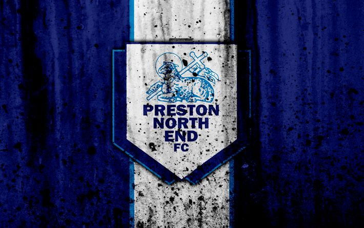 Download wallpapers 4k, FC Preston North End, grunge, EFL Championship, art, soccer, football club, England, Preston North End, logo, stone texture, Preston North End FC