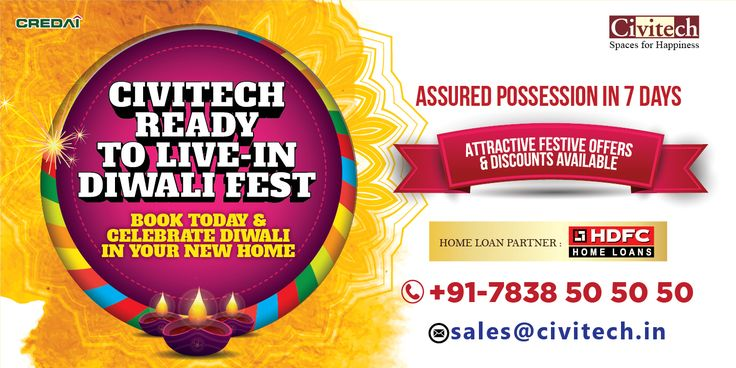 Civitech READY TO LIVE IN DIWALI FEST: Book Your Home in Navratra & Celebrate Diwali at your Own Home : Hurry Up! Limited Time Offer : Free Offering : Club Membership, Premium Wooden Wardrobes, Modular Kitchen With R.O. & Chimney, Wooden Wiremesh Shutters & Windows, Power Backup, & Lease Rent. Call Now : 7838505050 - #Diwali #Navratra #GreatOffers #CivitechDevelopers #HugeDiscounts #HugeSavings