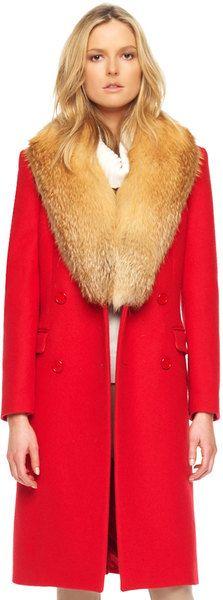 Melton Coat with Fox Collar - MICHAEL KORS