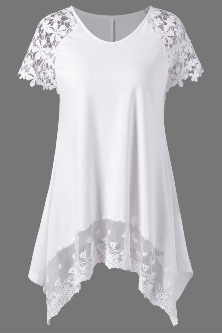 $13.97 Raglan Sleeve Lace Trim Asymmetric T-Shirt - White