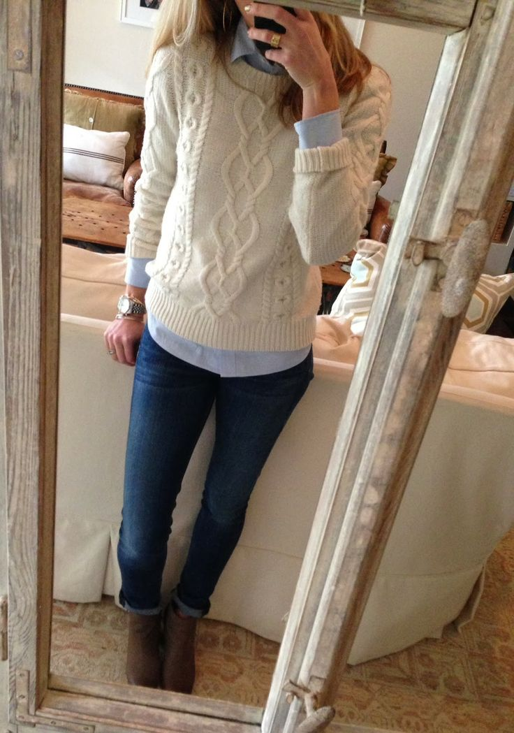 White Sweater + Blue Oxford, Jeans + Booties