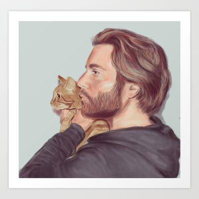 A Man and his Cat Art Print by MaryAube - $14.56