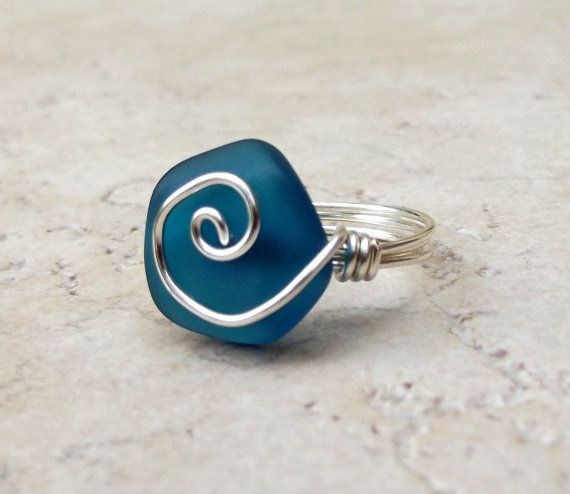 sea glass rings | Peacock Blue Sea Glass Ring: Silver Swirl from…