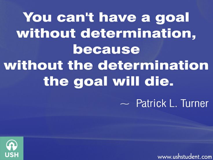 You can't have a goal without determination, because without the determination the goal will die.  - Patrick L. Turner