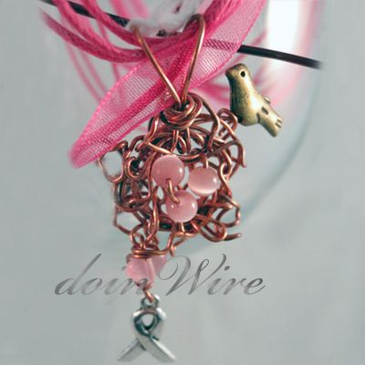 DOW53 doinWire handcrafted copper birds nest, pink cats eye beads, bird and awareness ribbon, on pink ribbon.