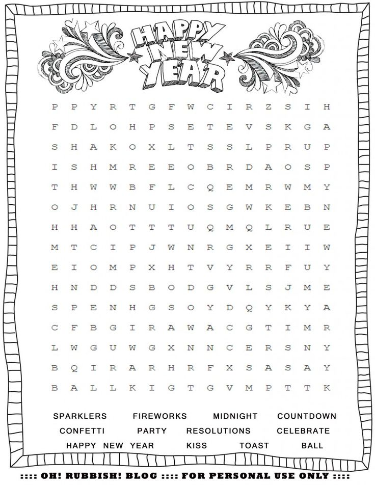 Happy New Year Word Search by oh! rubbish! blog