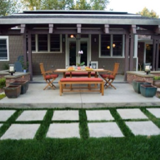 Modern Style Patio With Hand Troweled Concrete And Matching Brick Seat  Walls By Mile High Landscaping, Denver, CO