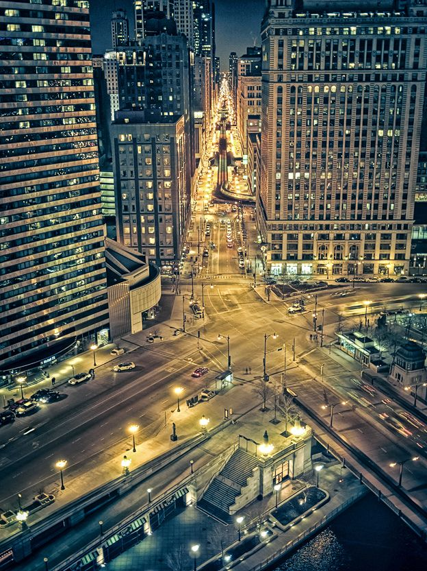 """looking South down Wabash Ave from 16th floor Trump Tower (Explored)"" by Rasidel Slika on Flickr - Looking south down Wabash Avenue from the 16th floor of the Trump Tower in Chicago, Illinois"