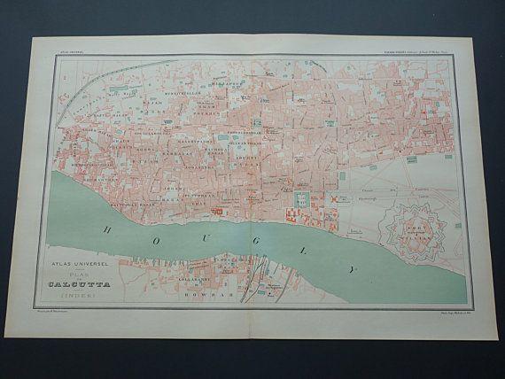 CALCUTTA old map of Kolkata LARGE 1896 original by VintageOldMaps