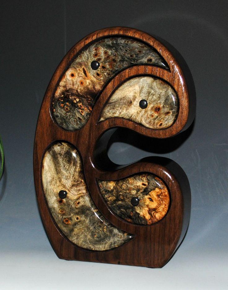 Buckeye Burl on Walnut Handcrafted Wooden Madonna Jewelry Box