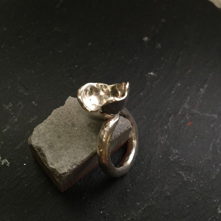 Ring made of melted silver. From spoons.
