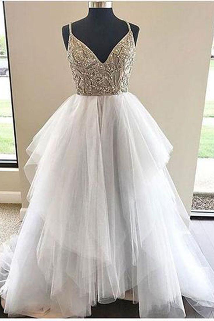 Sweetheart white tulle long A-line senior prom dress, sequins ruffles evening dress