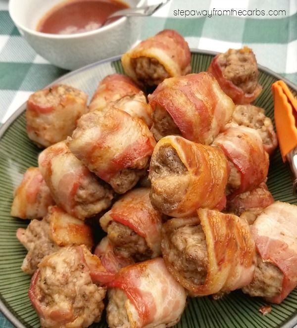 Low Carb Bacon Wrapped Meatballs - perfect for parties or snacks
