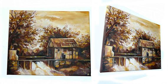 Original acrylic painting on canvas  The Hut autumn country
