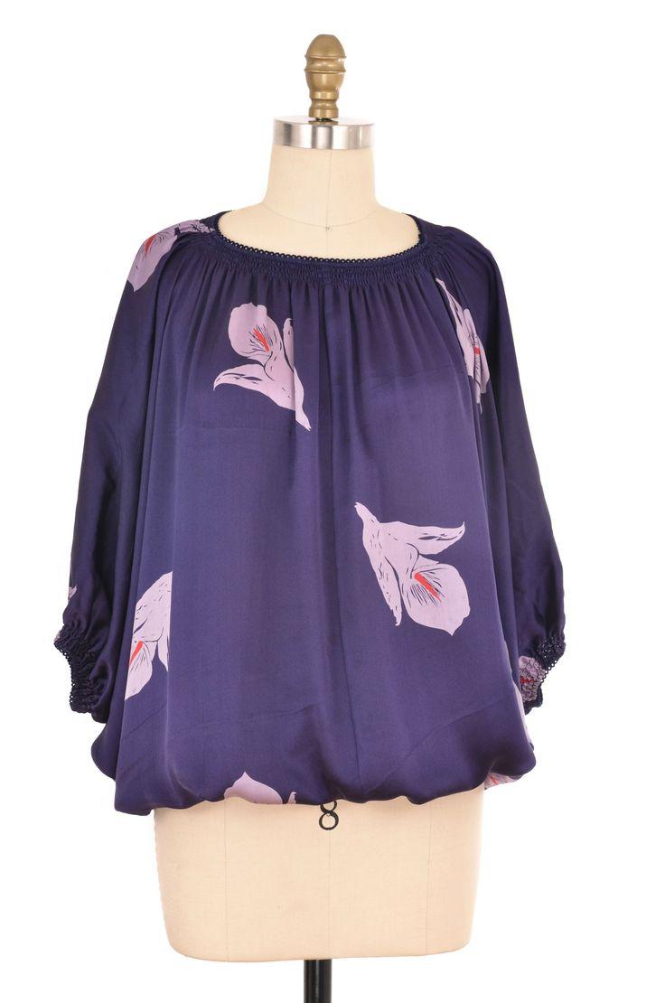 Blue Floral Lily Bubble Blouse Size S | ClosetDash #blue #purple #print #blouse #top #shirt #bottomlesscloset #style #fashion #shopforacause