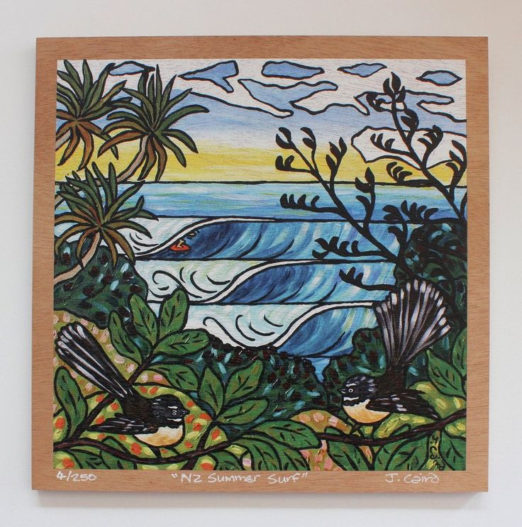 """NZ Summer Surf"" Plywood Print"