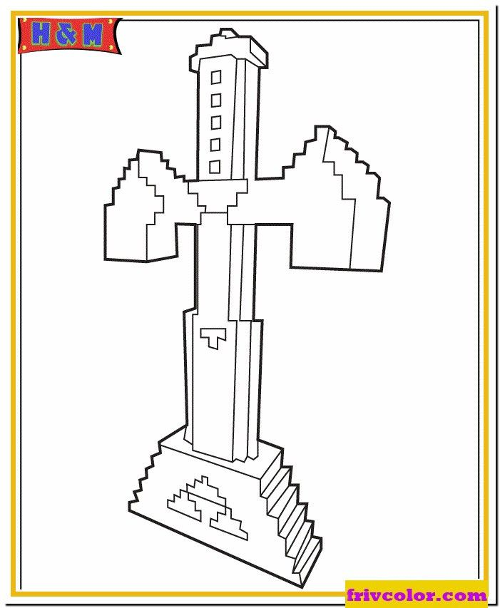 Minecraft Sword Coloring Page Youngandtae Com In 2020 Minecraft Coloring Pages Minecraft Printables Coloring Pages