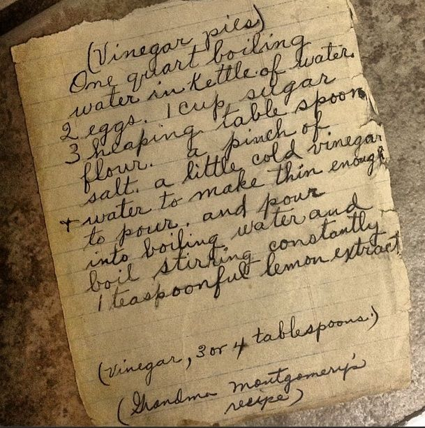 Just like Laura Ingalls made/Vinegar Pie??  It is surprisingly good and very inexpensive to make!