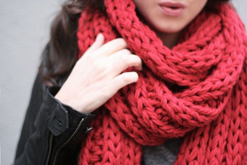 I bought a chunky red scarf like this, and it makes me warm just thinking about it