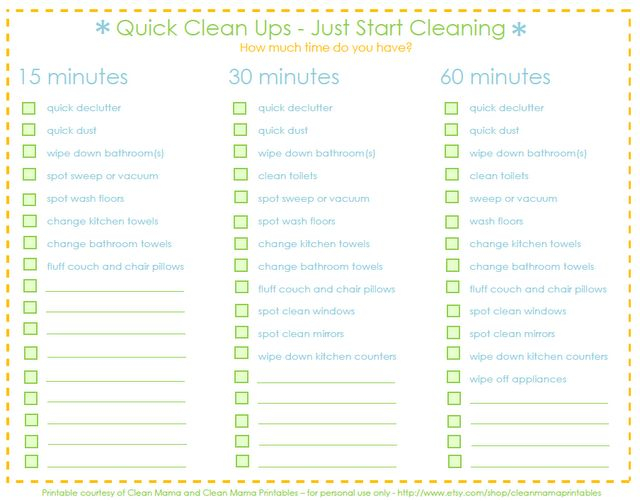Quick Clean Ups free printable at Clean mama