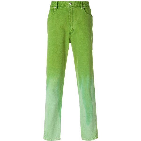 Eckhaus Latta faded straight-leg trousers ($152) ❤ liked on Polyvore featuring men's fashion, men's clothing, men's pants, men's casual pants, green, men's casual cotton pants, faded glory men's pants, mens cotton pants, mens straight leg cargo pants and mens green pants