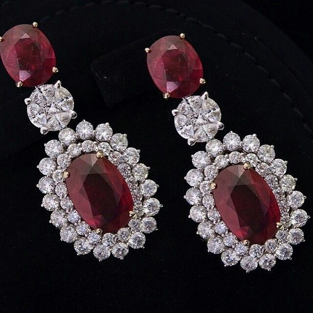 Elegant ruby earrings with diamonds @alfaresjewellery Via @jewelryjournal