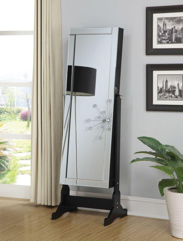 coaster accent mirrors black finish jewelry cheval mirror with interior storage coaster fine furniture