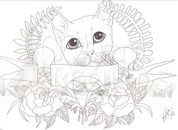 Cute Tabby Cat Coloring Page Download Retro Tattoo Cat Fancy