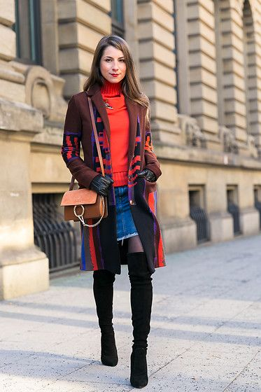 Get this look: http://lb.nu/look/8578249 More looks by Stephanie Van Klev: http://lb.nu/vejadu Items in this look: Etro Coat, Dorothee Schumacher Pullover, G Star Raw Jeans Skirt, Zara Over The Knee Boots, Chloé Bag #chic #edgy #street #outfit #winter #colors #colorful #look #overthekneeboots