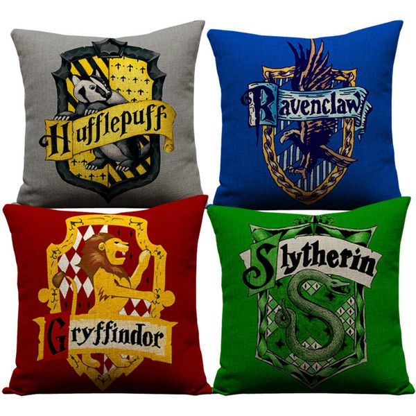 Harry Potter pillows, slytherin, ravenclaw, hufflepuff, harry potter,... ($93) ❤ liked on Polyvore featuring home, home decor, throw pillows and linen throw pillows