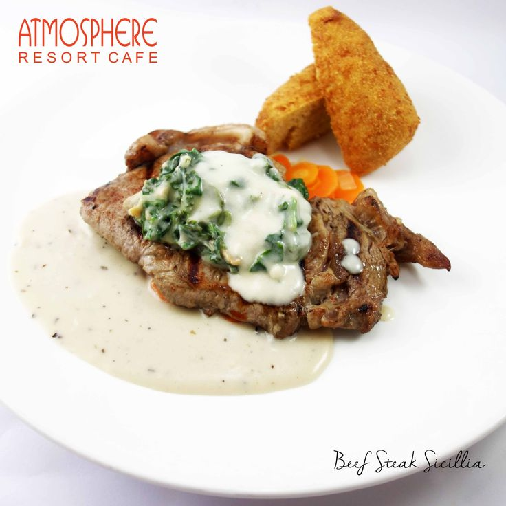 Grilled sirloin served with croquette potato, vichy carrot & creamy spinach in cheesy basil sauce