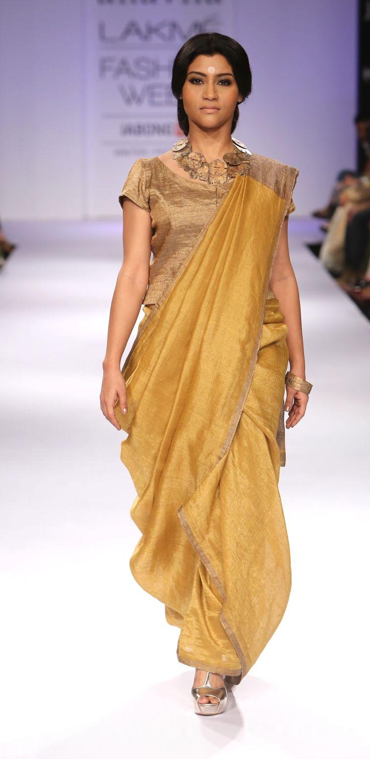 mettalic linen Sari