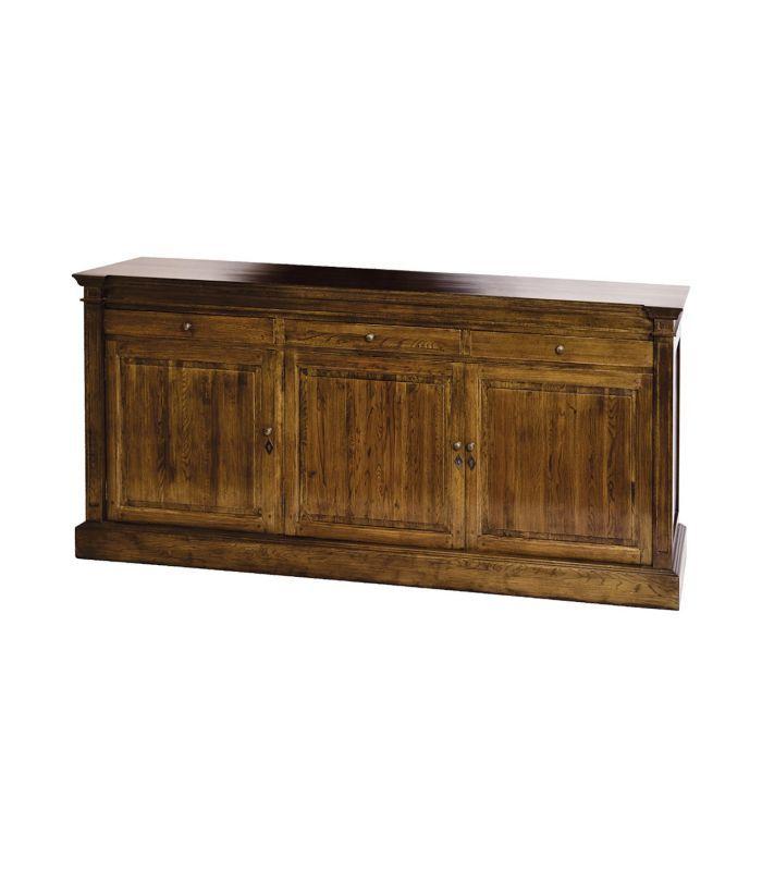 Aparador de tres puertas y tres cajones color marrón con madera de roble. Dimensiones 202x90x50